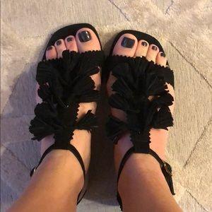 Tassel suede sandals